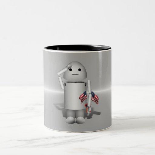 Robo-x9 patrióticos - Recuerde el Memorial Day Taza Dos Tonos