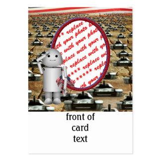 Robo-x9 que saluda y marco de la foto de los tarjetas de visita grandes