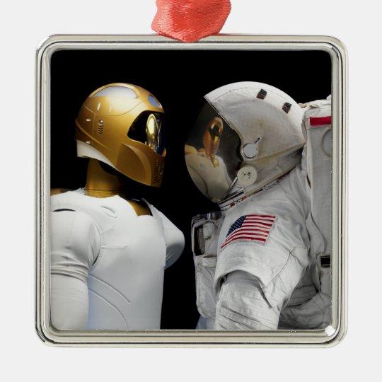 Robonaut 2, a dexterous, humanoid astronaut hel 3 metal ornament