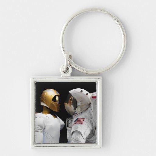 Robonaut 2, un diestro, hel 3 del astronauta del llavero cuadrado plateado