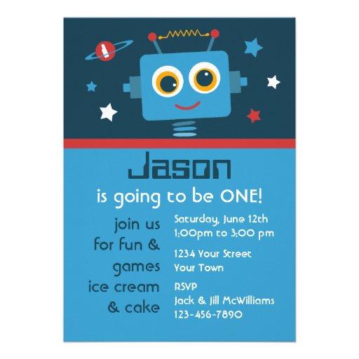 "Robot 1st Birthday Custom Invitations 5"" X 7"" Invitation"