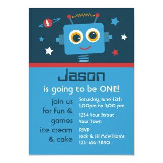 Robot 1st Birthday Custom Invitations