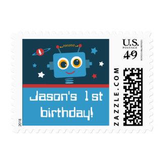 Robot 1st Birthday Custom Postage