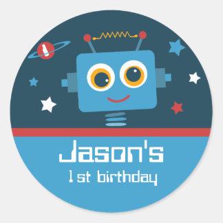 Robot 1st Birthday Custom Stickers