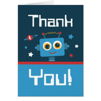Robot 1st Birthday Thank You Notes Cards