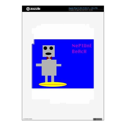 Robot 2 de la playa de Neptuno Pegatinas Skins Para iPad 3