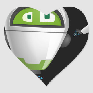 """Robot 2"" in black Heart Sticker"