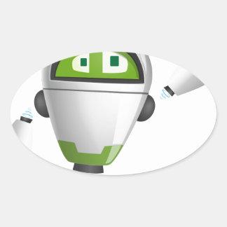"""Robot 2"" Oval Sticker"