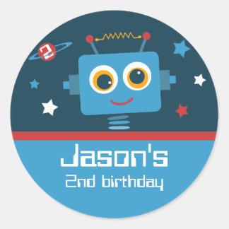 Robot 2nd Birthday Custom Stickers