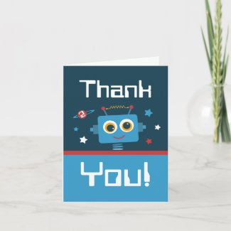 Robot 2nd Birthday Thank You Notes card