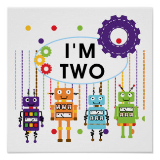 Robot 2nd Birthday tshirts and Gifts Poster