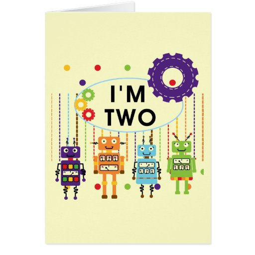 Robot 2nd Birthday tshirts and Gifts Stationery Note Card