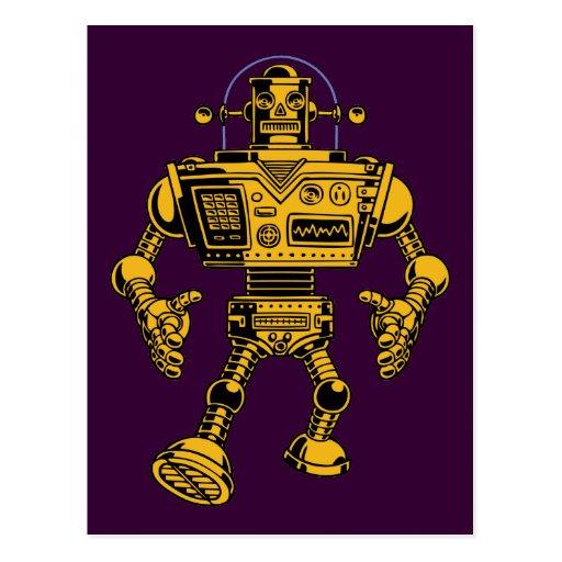 Robot 313 -gold post card
