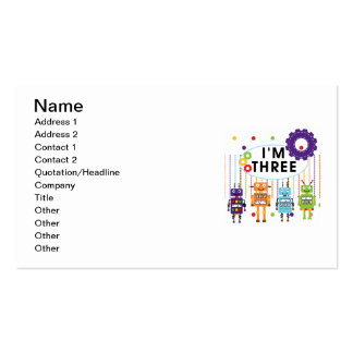 Robot 3rd Birthday T shirts and Gifts Business Card