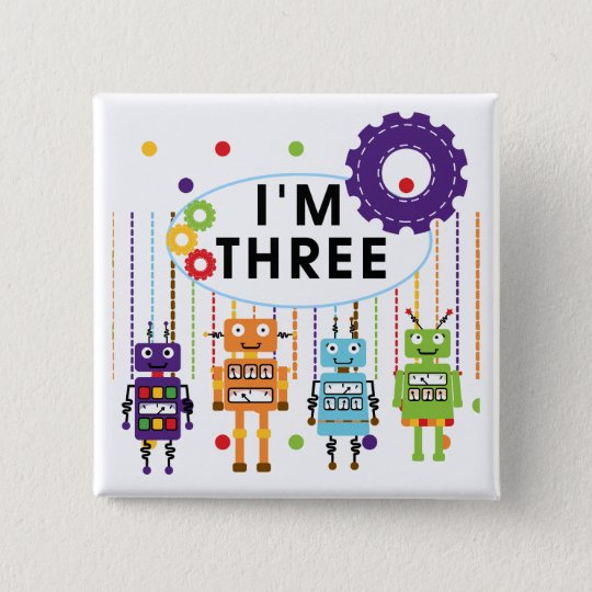 Robot 3rd Birthday T shirts and Gifts Button