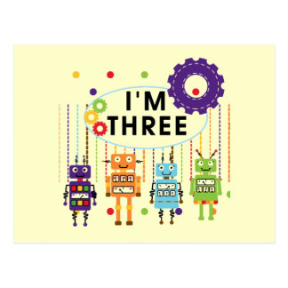 Robot 3rd Birthday T shirts and Gifts Postcard