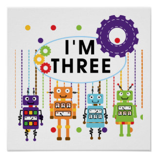 Robot 3rd Birthday T shirts and Gifts Poster