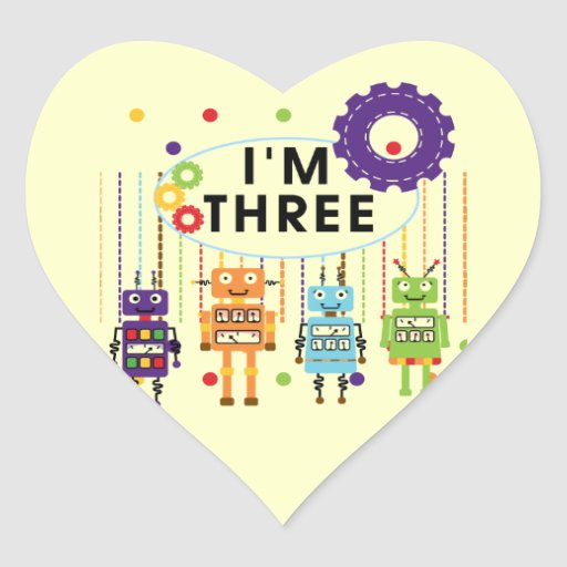 Robot 3rd Birthday T shirts and Gifts Heart Sticker