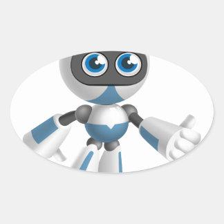 """Robot 4"" Oval Sticker"