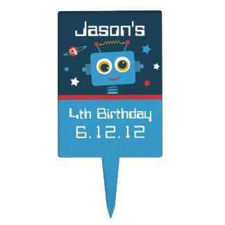 Robot 4th Birthday Cake Topper