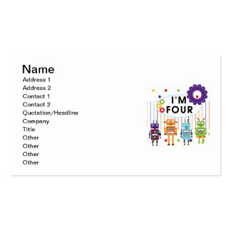 Robot 4th Birthday Tshirts and Gifts Business Cards