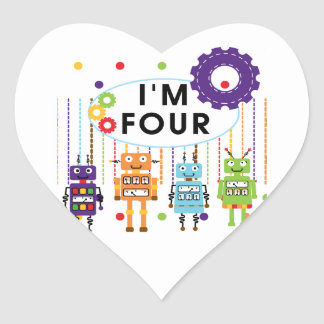 Robot 4th Birthday Tshirts and Gifts Heart Sticker