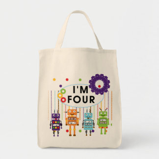 Robot 4th Birthday Tshirts and Gifts Tote Bag