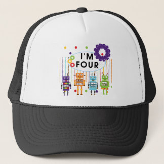Robot 4th Birthday Tshirts and Gifts Trucker Hat