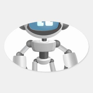 """Robot 5"" Oval Sticker"