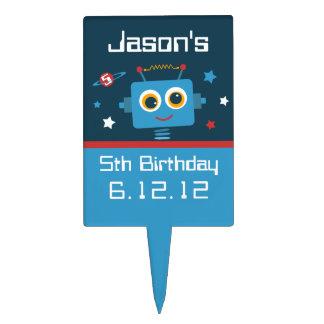 Robot 5th Birthday Rectangular Cake Picks