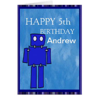 Robot 5th Birthday Cards