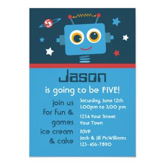 "Robot 5th Birthday Custom Invitations 5"" X 7"" Invitation Card"