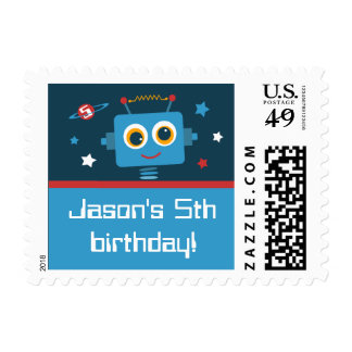 Robot 5th Birthday Custom Postage