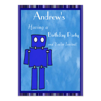 "Robot 5th Birthday 5"" X 7"" Invitation Card"