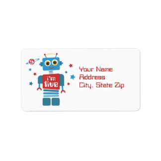 Robot 5th Birthday Label