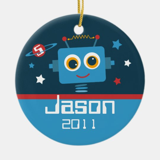 Robot 5th Birthday Personalized Ornament