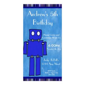 Robot 5th Birthday Photo Card