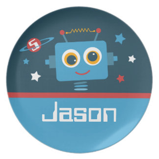 Robot 5th Birthday Party Plates