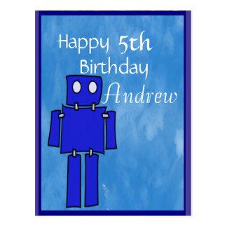 Robot 5th Birthday Postcards
