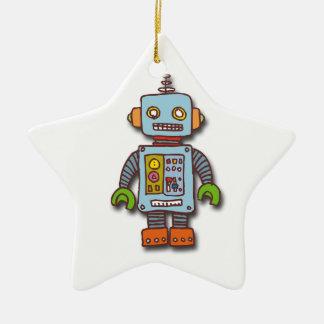 Robot Adorno Navideño De Cerámica En Forma De Estrella
