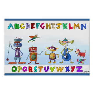 Robot Alphabet by Jerry Hunt Poster
