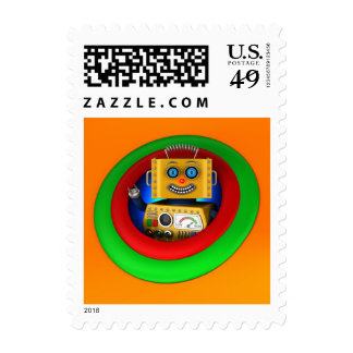 Robot amarillo lindo del juguete del vintage sello