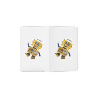 Robot amarillo torpe del juguete funda para libreta y libreta pequeña moleskine