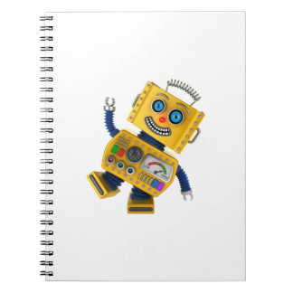 Robot amarillo torpe del juguete note book