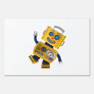 Robot amarillo torpe del juguete señal
