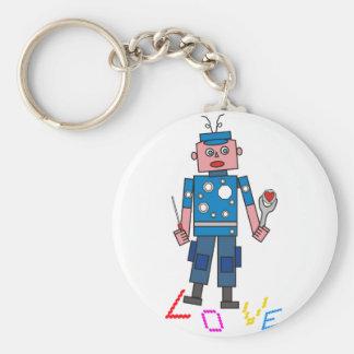 Robot amor llavero redondo tipo pin