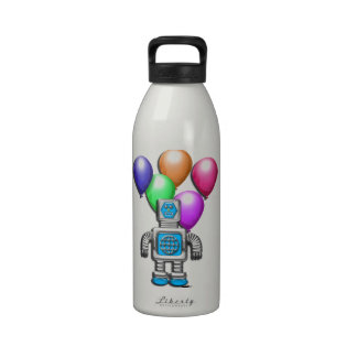 Robot and Balloons Drinking Bottles
