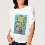 Robot and Gray Kitty Tee Shirt