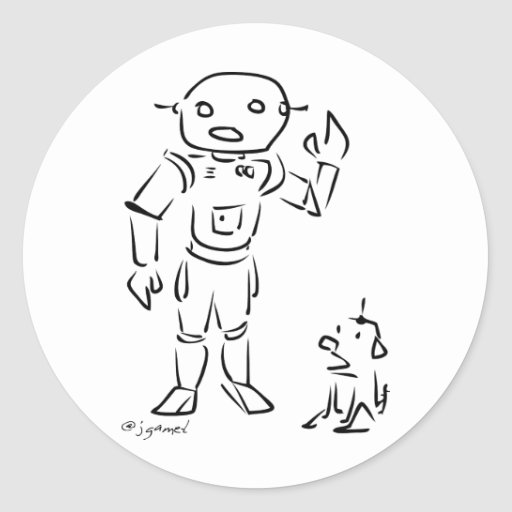 Robot and His Dog Classic Round Sticker