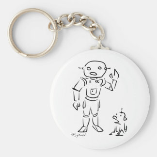 Robot and His Dog Basic Round Button Keychain